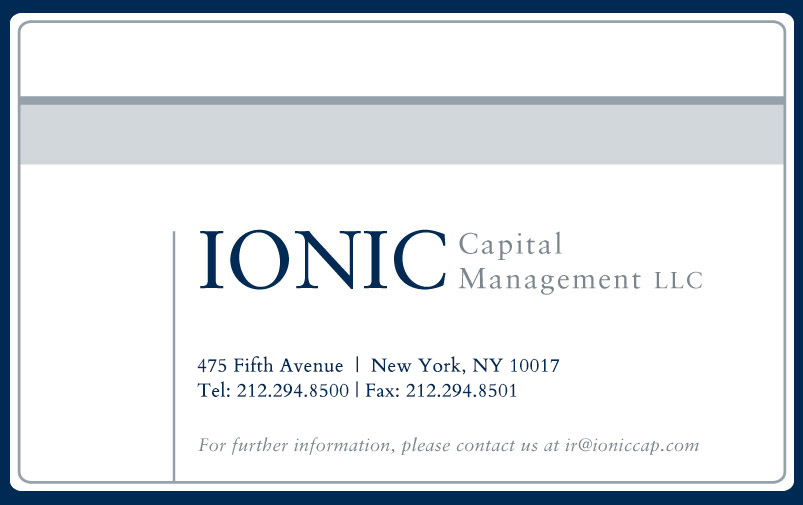 Ionic Capital Management LLC